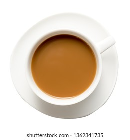 White Cappuccino cup of coffee on a plate isolated on white background. Top view.