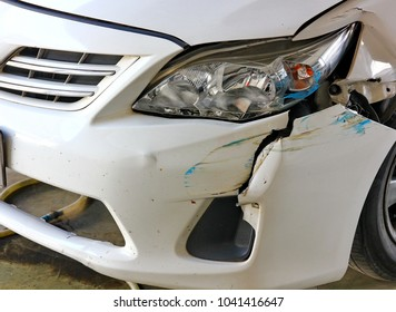 white car accidented ,car damaged