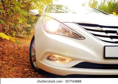 White car and autumn
