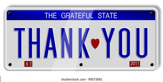White car number plates spelling thank you on the white background / Thank you number plates