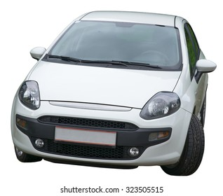 White car on isolated white background, front view