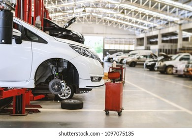 white car repair station with soft-focus and over light in the background