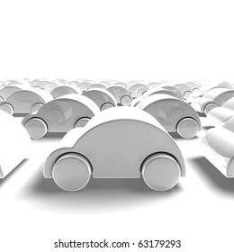 white car traffic - 3D render