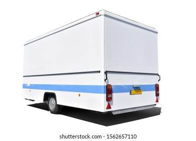 white car trailer with blue line in isolation on white background or clipart