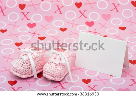 White Card Baby Booties On Pink Stock Photo Edit Now 36316930