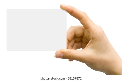 White card in a hand against the white background
