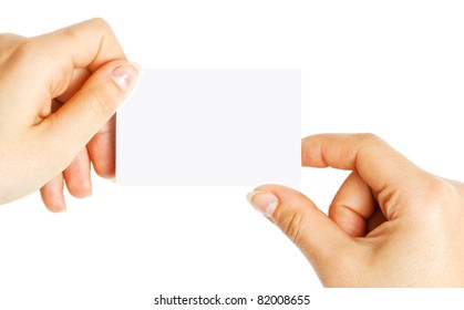 White card in a hand on white background