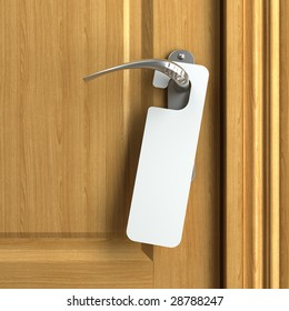 white card hanging from doorknob with copy space where you can put your own text