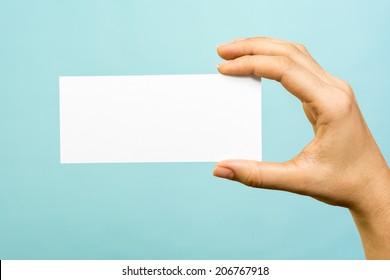 White card presentation concept on blue background