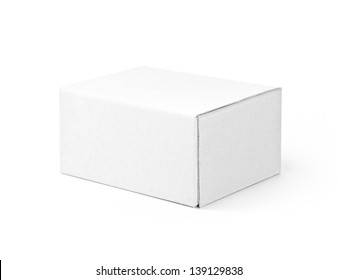 White cardboard box isolated on a White background with clipping path
