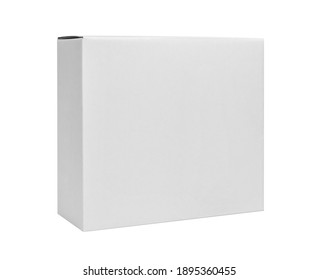 White cardboard box isolated on white background. Box mockup design. Clipping Path.