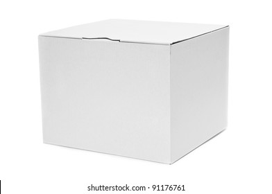 a white cardboard box on a white background