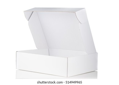 White cardboard box open 3/4 view isolated on white background