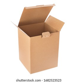 White cardboard empty box open isolated on white background. Delivery carton box. Clipping path included.