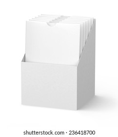 White Cardboard holder with blank Medicine Drugs Or Coffee, Salt, Sugar, Pepper, Spices, Sachet, Sweets, Candy packaging Or Condom Wrapper sleeves isolated on white background.