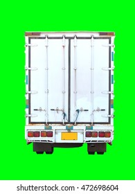 White cargo container and truck isolated on green background