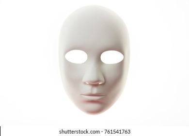 White carnival mask isolated on white background, front view