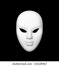 White carnival mask on black isolated background.