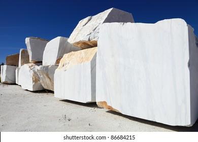 white carrara marble block in quarry