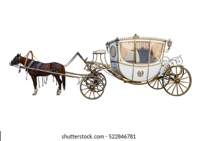 white carriage drawn by a chestnut horse isolated on white background
