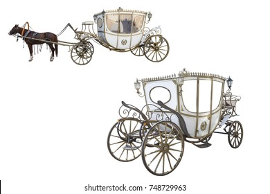 white carriage drawn by a chestnut horse isolated on white background, an empty carriage isolated on white background, set, space