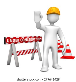 """White cartoon character with helmet and text """"under construction"""". 3d illustration."""