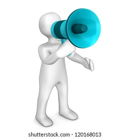 White cartoon character with megaphone. White background.