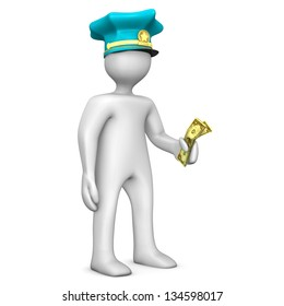 White cartoon character with police cap and money in the hand.
