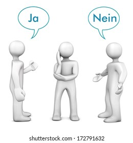 White cartoon characters with german text ja and nein, translate yes and no.