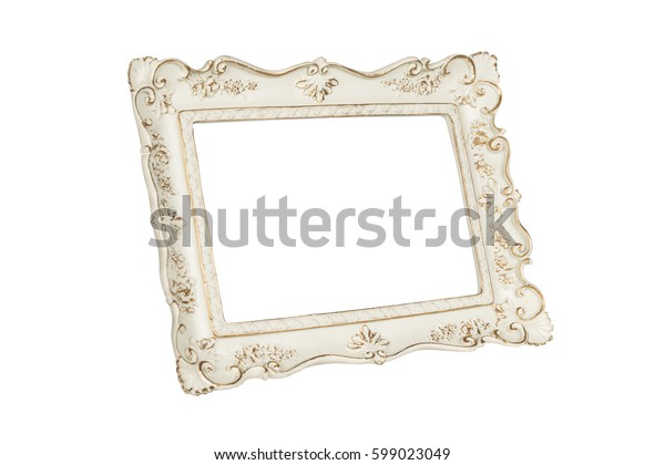 White carved picture frame isolated over white with clipping path.