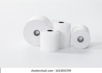 white cash register tape on a white background