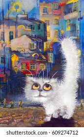 White cat in the city