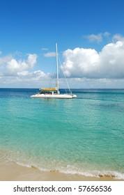 White catamaran boat in the Caribbean Sea