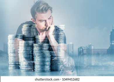 white caucasian  black color tshirt stress and thinking with money coin stack double exposure