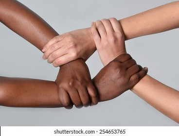 white Caucasian female hands and black African American holding together in world unity and racial love and understanding in tolerance races diversity cooperation concept isolated on grey background