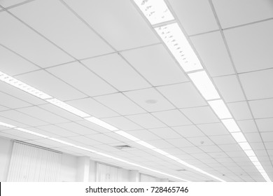White ceiling with neon lights in the office. White ceiling can reflect light well. The right light at work. copy space.