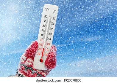 White celsius and fahrenheit scale thermometer in hand. Ambient temperature minus 15 degrees celsius