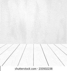 White cement wall and perspective white wood background,product display, template, room, table.