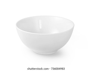 White ceramic bowl isolated on white background with clipping path