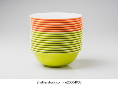 White ceramic bowl or plastic bowl on white background (empty)