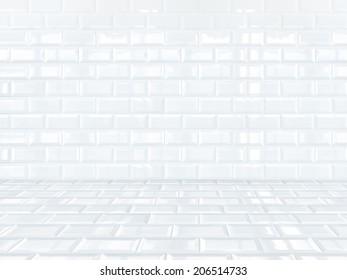 White ceramic brick tile room,background