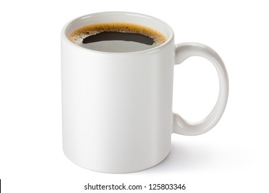 White ceramic coffee mug. Isolated on a white.