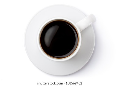 White ceramic coffee mug on the saucer. Top view. Isolated on a white.