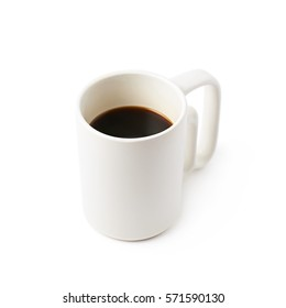 White ceramic cup of coffee isolated over the white background