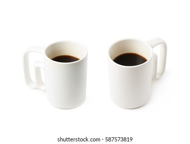 White ceramic cup of coffee isolated over the white background, set of two different foreshortenings
