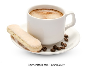 White ceramic cup of coffee with a savoiardi ladyfinger cookie on a plate