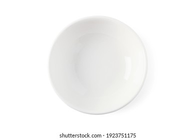 White ceramic cup isolated on white background. View from above