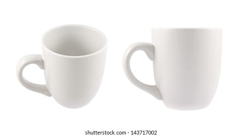 White ceramic cup isolated over white background, set of two foreshortenings