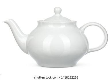 White ceramic kettle isolate on white background