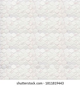 White ceramic marble tile wall decorative with hexagon pattern close up. Honeycomb ceramic bright color in geometric shape texture floor used for kitchen or bathroom interior design 3d